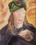 An abstract watercolor of Tyra Banks and her little one